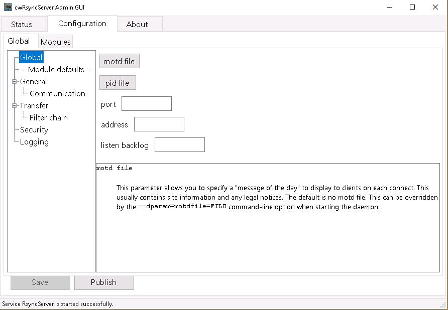 cwRsyncServer Admin GUI