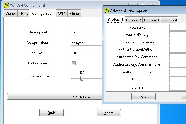 Copssh Control Panel with advanced server options